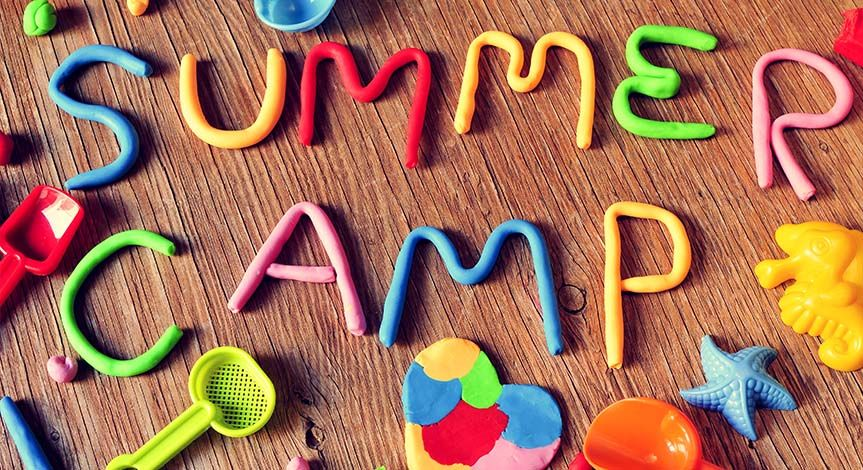 Summer camp written in colored Play Doh